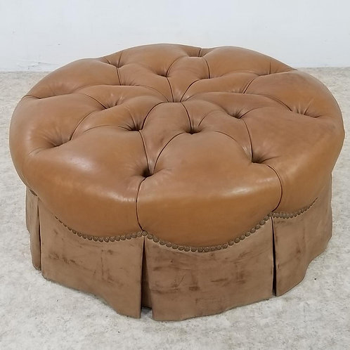 Tufted Chesterfield Leather Ottoman