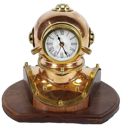 Brass and copper nautical dive helmet.
