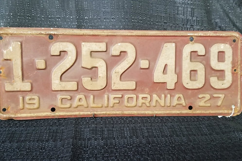 1927 California License Plate