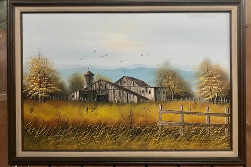 Western Barn Scene Oil Painting