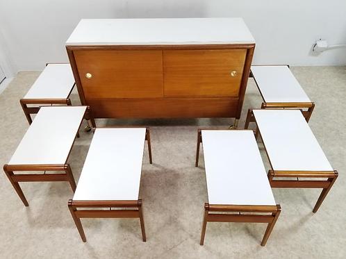 Mid Century John Keal for Brown Saltman Bar Server Credenza Cabinet on Brass cas