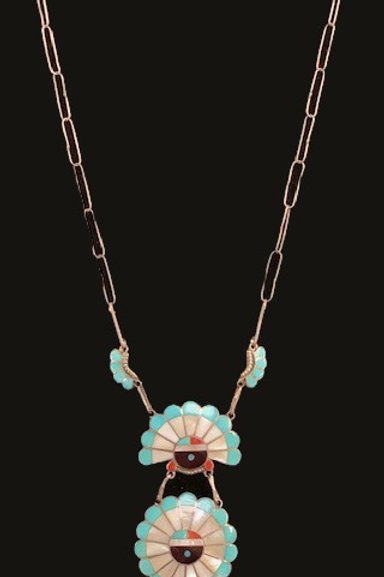 Zuni Necklace MOP/Turquoise/Coral
