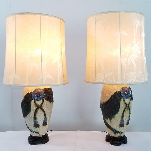 Mid century Lava Glazed Porcelain table lamps