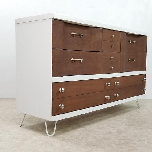 Mid Century Vintage Dresser credenza wave design