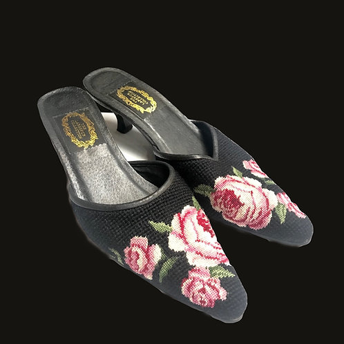 Black Lacksmur collection Needlepoint Heels