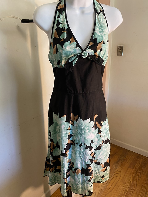 Black Halter Dress with green flowers size 3