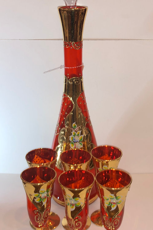 Venetian Decanter + 6 glasses