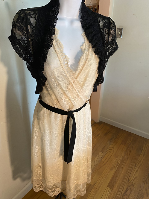 LACE DRESS W/BELT and BLACK LACE SHRUG BOLERO