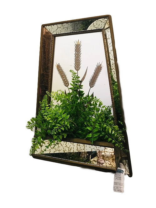Mid Century Mirror with artificial plant