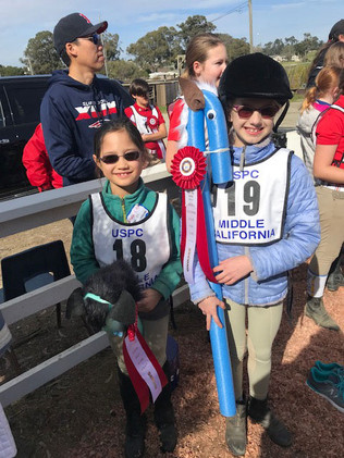 Members Anna and Audrey winning Second place on a scratch team and Vienna winning third place on a scratch team at Middle California's Regional Everything But The Horse Rally (EBTHR) 2019