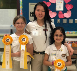Members Vienna Audrey and Anna winning third place at Middle California's Regional Quiz Rally 2019