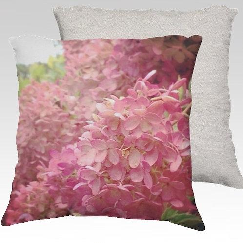 Pink Hydeangea Velvet Pillow