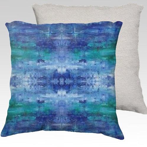 Blue Ice Velvet Pillow