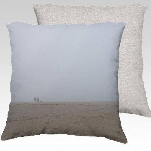 Foggy Beach Velvet Pillow