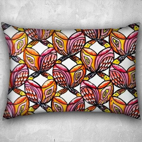 Birds Velvet Lumbar Pillow