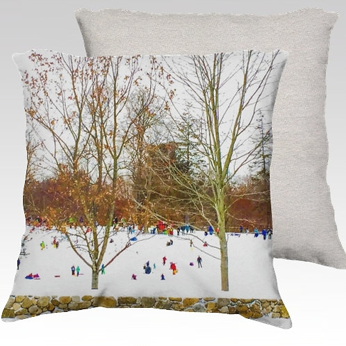 Winter Sledding Velvet Pillow