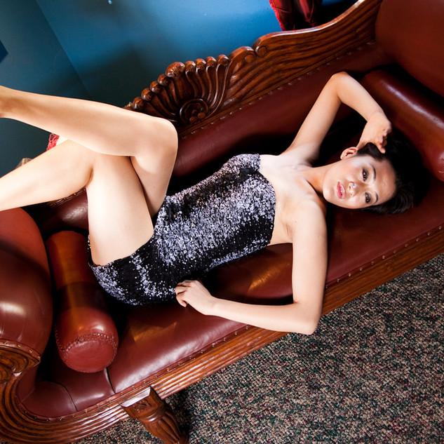 Model wearing dress designed by fabulous Maui Designer Tristan Fong
