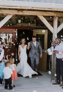 Bubbly couples' send-off.
