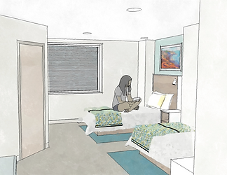 inpatient bedroom rendering