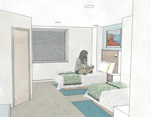 inpatient bedroom rendering