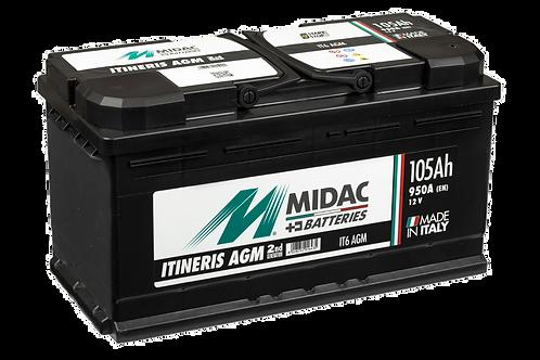 BATTERIE MIDAC IT6 AGM L6 START&STOP 12V 105Ah  950A