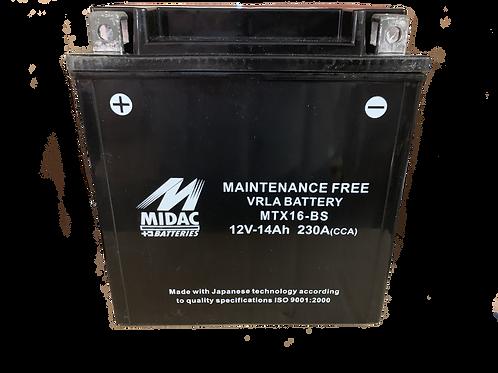 BATTERIE MIDAC AGM YTX16-BS 12V 14Ah  230A