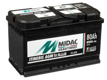 BATTERIE MIDAC IT4 AGM L4 START&STOP 12V 80Ah  800A