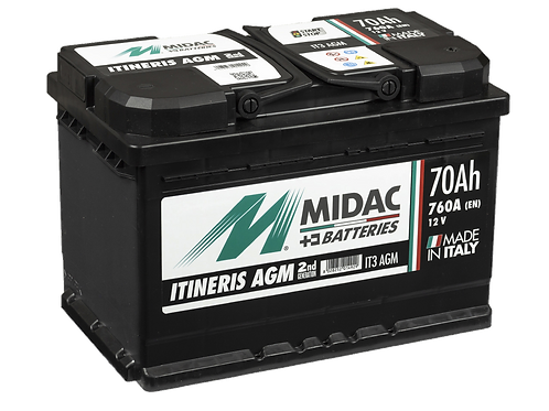 BATTERIE MIDAC IT3 AGM L3 START&STOP 12V 70Ah  760A