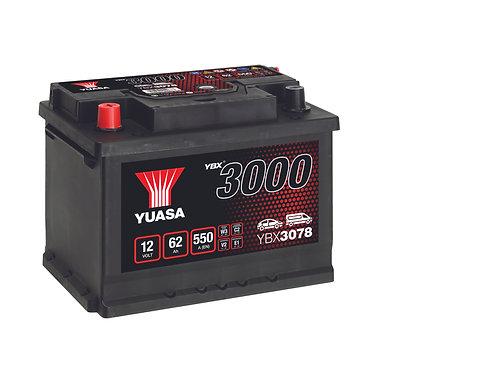 YBX3078 L2R 12V 62Ah  500A