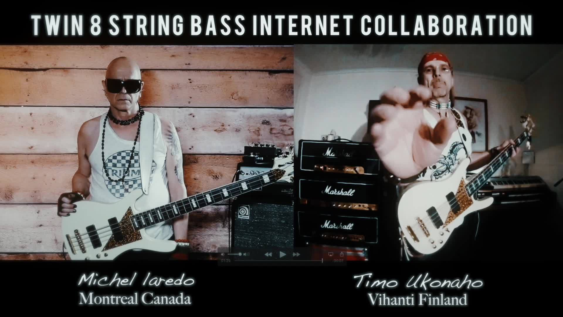 TWIN 8 STRING BASS JAM COLLABORATION It is my honour to Jam with my bass twin brother Timo Ukonaho from Finland, such an awesome guy and great player. Thank you  for joining forces with me in supporting the 8 string bass movement . GUYS Please share