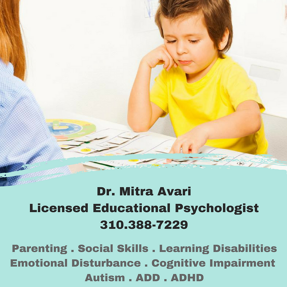 Educational Psychologist, Parenting, Social Skills, Learning Disabilities, ADD, ADHD, Autism, Cognetive Impairment, Kids Therapist, Family Therapist