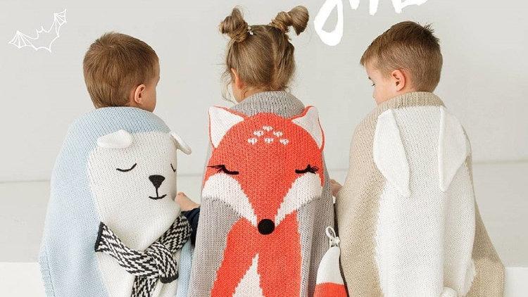 Rabbit Fox Knitted Baby Cartoon Animal Blanket