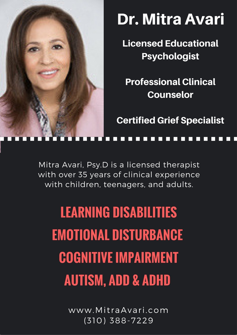 DR. MITRA AVARI - CHILD PSYCHOLOGIST - CLINICAL COUNSELOR - ADHD, AUTISM, COGNITIVE IMPAIRMENT & MORE