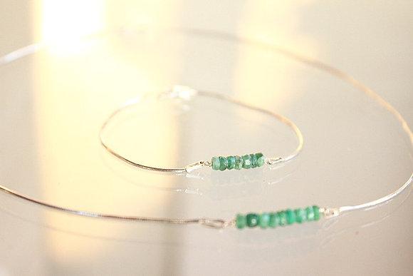 Smaragd-Set, Armband und Collier