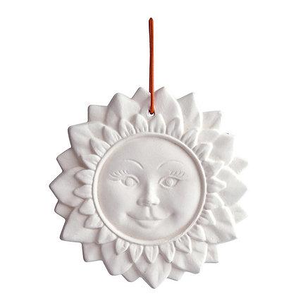"Duftkeramik-Figur ""Sonne groß"" mit Lederband"