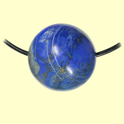 Lapizlazuli-Kugel am Lederband mit Silberverschluss