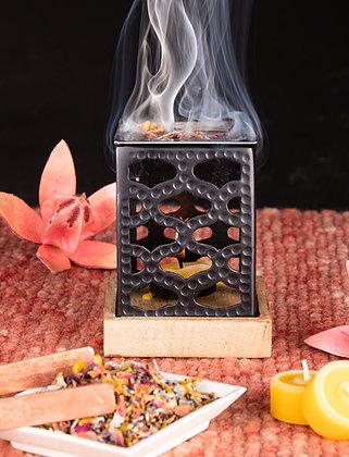 Räucherturm schwarz mit Mangoholz