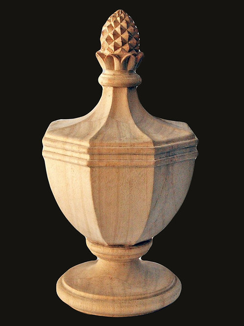 Sale! $100 OFF! Master Carved Wood Finial. Urn and Pineapple. 8 5/8H x 4 5/8W.
