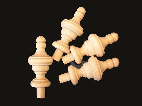 4 Small Hardwood Finials 2 3/16 x 1 1/8 Wood Craft. #6