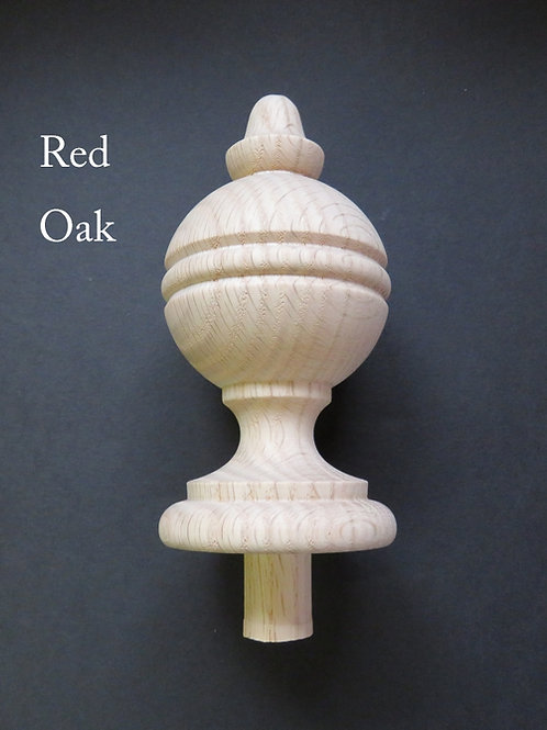 Wood Finial 5 3/8 X 2 5/8. Available in Oak, Maple and Cherry. #31