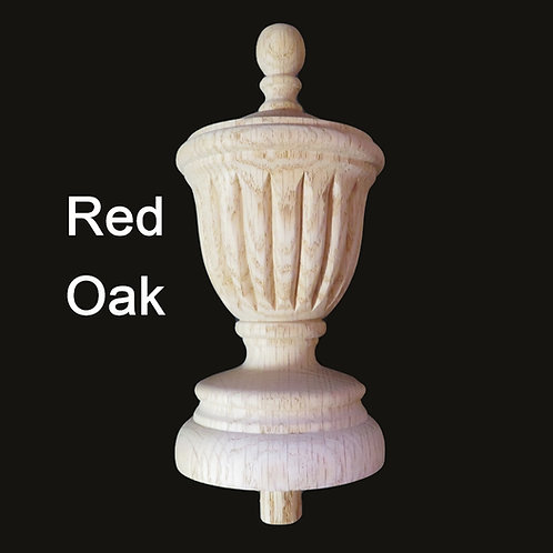 Red Oak Wood Newel post //  Stair Finial.  8 1/4 H, 3 7/8 W. #46.