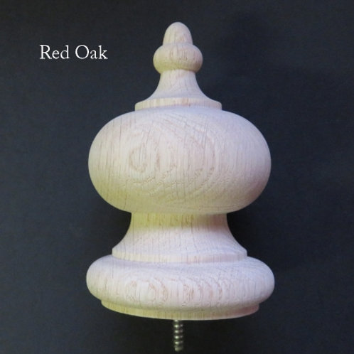 Wood Finial. Newel Stair Post. 5.5 x 3.5. Oak, Maple Cherry Mahogany Walnut #64