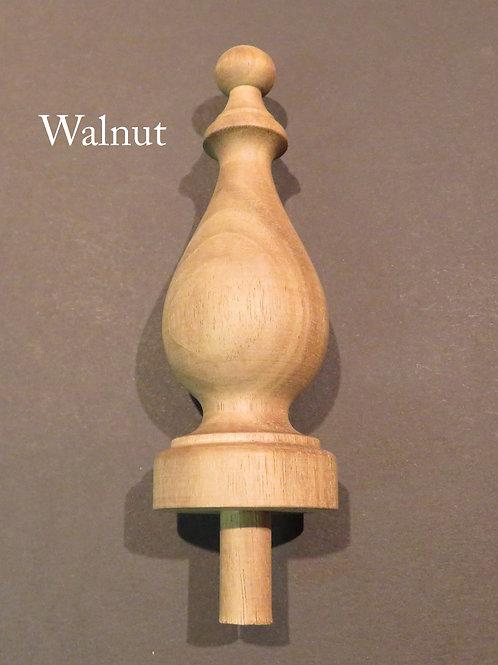 Wood Finial 5 1/16 x 1 13/16. Choice: Oak, Maple, Cherry, Walnut, Mahogany. #27