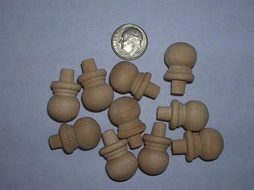 10 Tiny Wood Finials 11/16 x 9/16. Wooden Craft. #3
