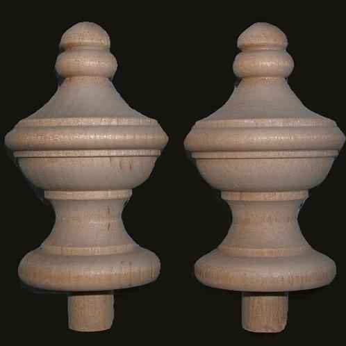 2 Wood Finials 2 7/8 x 1 3/4 Wooden Craft. #9