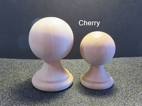 Wood Ball Finial. Oak, Cherry or Maple 2 sizes. 4/3/8 x 2 3/4 or 5 1/ 2 x 3 1/2.
