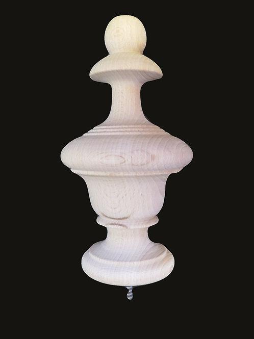 Large Wood Urn Style Finial.  Oak Maple Cherry Mahogany 6 1/4 H x 3 1/4 W. #29