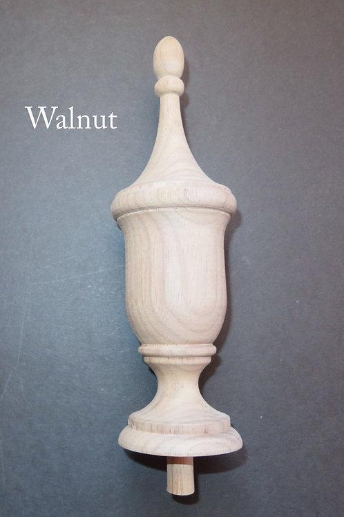 Wood Bedpost Finial 6 1/4 x 2. Choice: Oak, Maple, Cherry, Walnut, Mahogany. #11