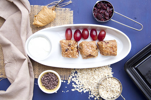 Peanut Oat Bars w Fruit and Yogurt