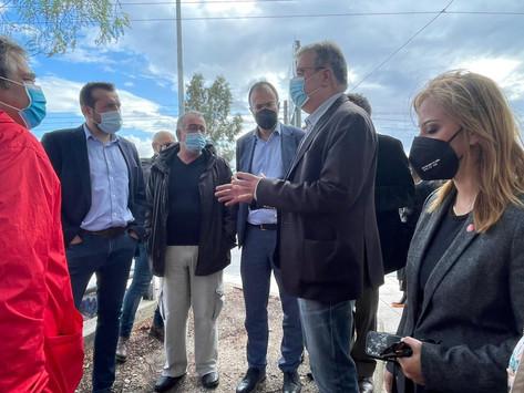 Επίσκεψη βουλευτών ΣΥΡΙΖΑ στο σημείο που βυθίστηκε το λεωφορείο της ΟΣΥ